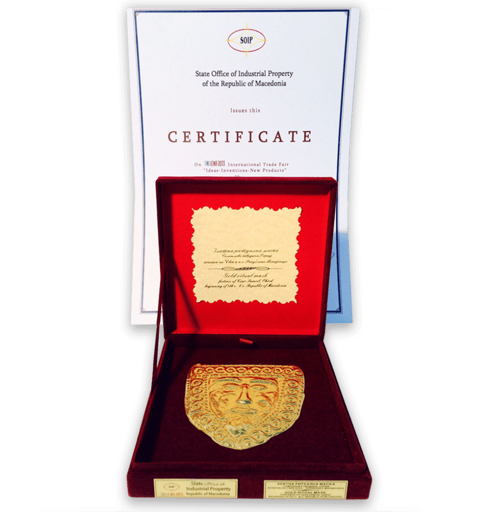 GOLD MASK with special acknowledgment and CERTIFICATE